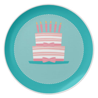 Birthday Cake Plate - Teal & Pink