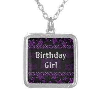 Birthday Cake Rock Star In Purple Birthday Girl Silver Plated Necklace