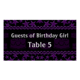 Birthday Cake Rock Star In Purple Table Business Card