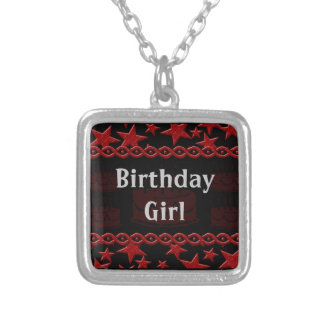 Birthday Cake Rock Star In Red Silver Plated Necklace