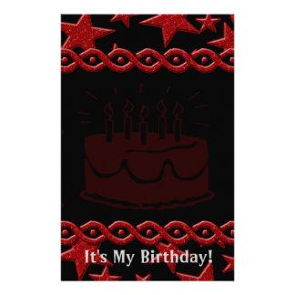Birthday Cake Rock Star In Red Stationery