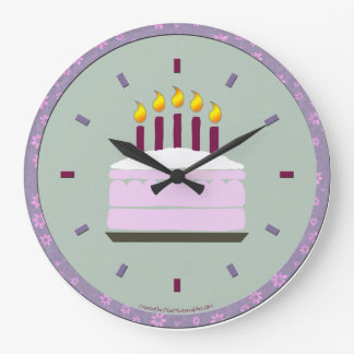 Birthday Cake Round Clock