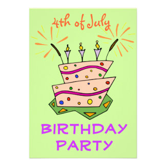 Birthday Cake Sparklers 4th of July Birthday Party Custom Announcements