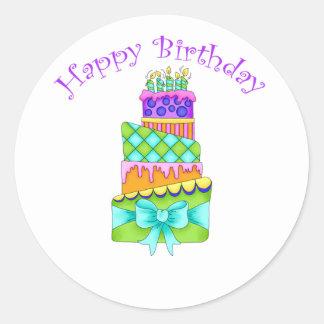Birthday Cake Stickers - with Happy Birthday
