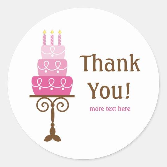 Birthday Cake Thank You Stickers