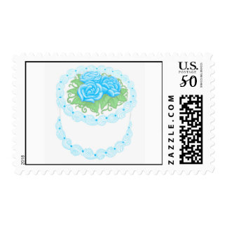 Birthday Cake with Blue Flowers Postage