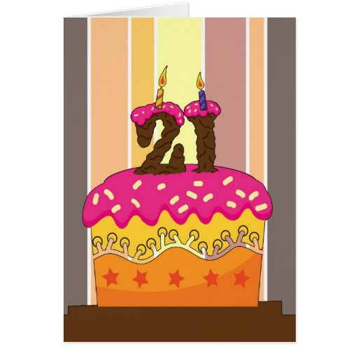 birthday - cake with candle 21 - 21st birthday gre card