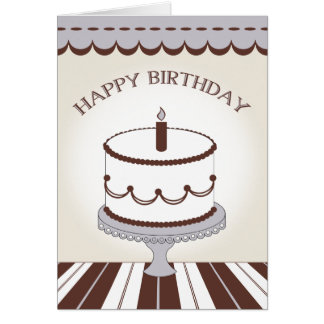 Birthday Cake with Candle - Brown and Lilac Card