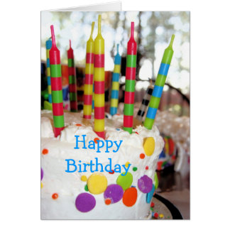 Birthday Cake with Candles Birthday Greeting Card