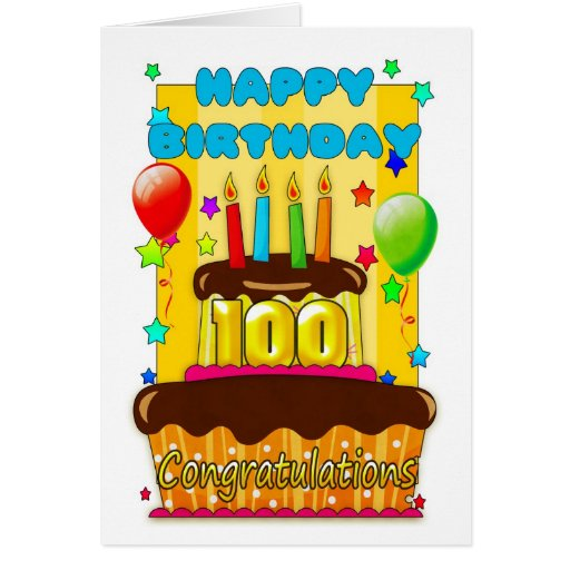 birthday cake with candles - happy 100th birthday cards