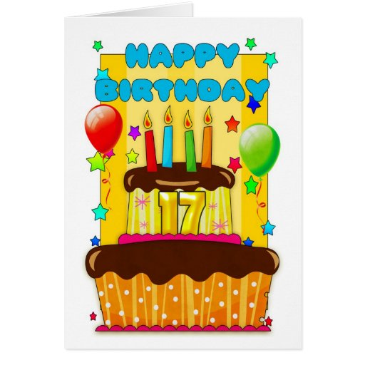 birthday cake with candles - happy 17th birthday greeting card