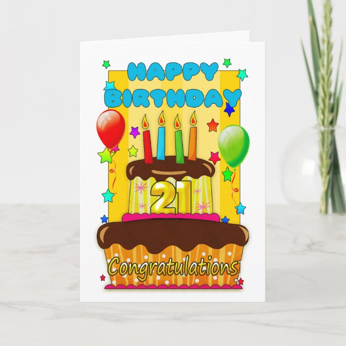 Awe Inspiring Birthday Cake With Candles Happy 21St Birthday Card Zazzle Com Funny Birthday Cards Online Alyptdamsfinfo