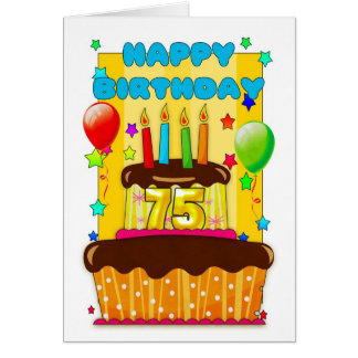 birthday cake with candles - happy 75th birthday greeting card