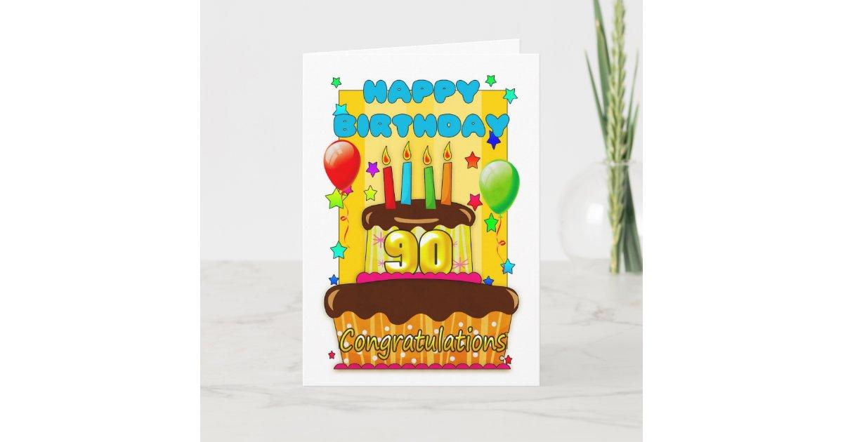 Astounding Birthday Cake With Candles Happy 90Th Birthday Card Zazzle Com Funny Birthday Cards Online Benoljebrpdamsfinfo