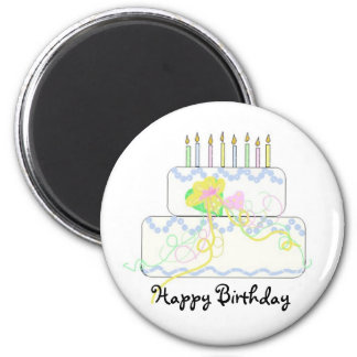 Birthday Cake with Candles Refrigerator Magnets