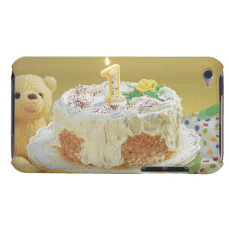 Birthday cake with one candle and teddy bear barely there iPod case