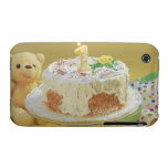 Birthday cake with one candle and teddy bear iPhone 3 case