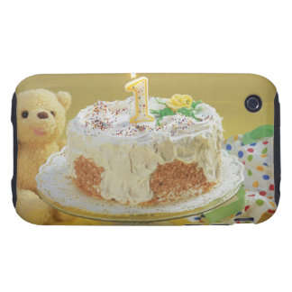 Birthday cake with one candle and teddy bear iPhone 3 tough case
