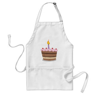 Birthday Cake With One Candle Lit Adult Apron