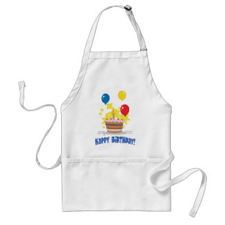 Birthday Cake With One Candle Lit And Balloons Adult Apron