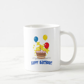 Birthday Cake With One Candle Lit And Balloons Coffee Mug