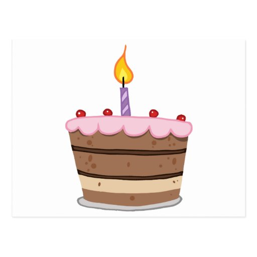 Birthday Cake With One Candle Lit Postcard Zazzle