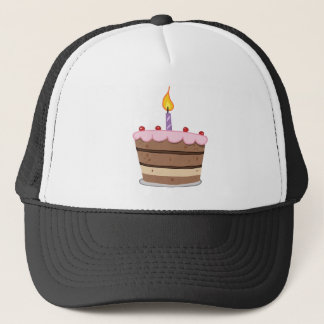 Birthday Cake With One Candle Lit Trucker Hat