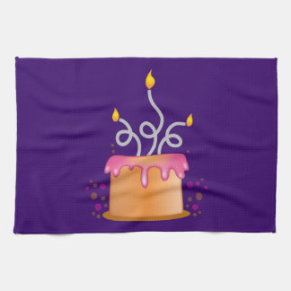Birthday cake with twirly curly candles kitchen towel
