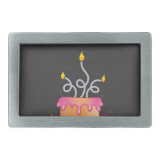 Birthday cake with twirly curly candles rectangular belt buckle