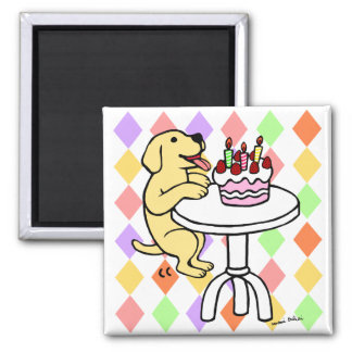 Birthday Cake Yellow Labrador Cartoon 2 Inch Square Magnet