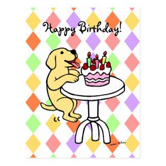 Birthday Cake Yellow Labrador Cartoon Postcard