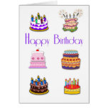 Birthday Cakes Greeting Card