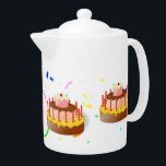 """birthday cakes party themed teapot<br><div class=""""desc"""">Birthday  cake party themed pattern with confetti.</div>"""