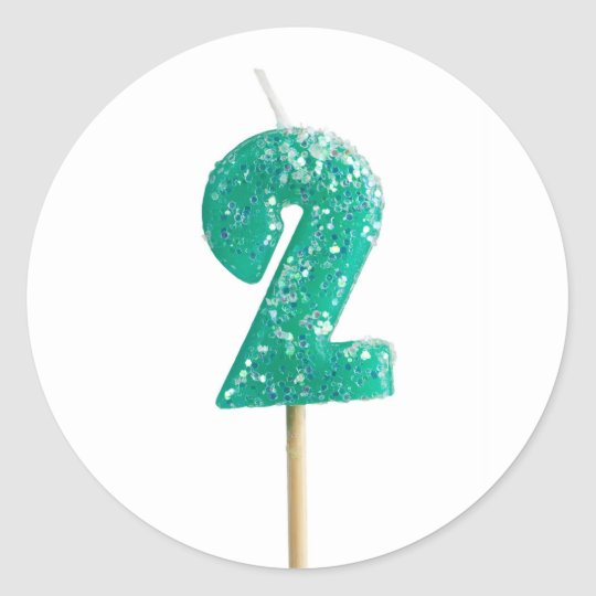 Birthday candle number 2 classic round sticker
