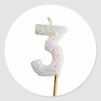 Birthday candle number 3 classic round sticker
