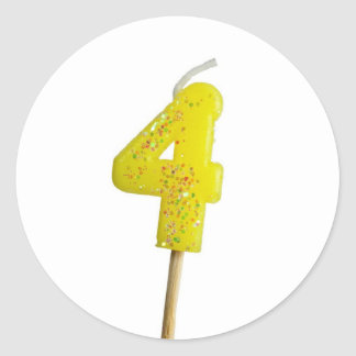 Birthday candle number 4 classic round sticker