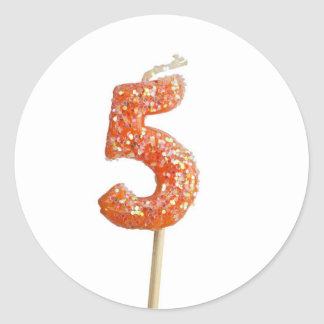 Birthday candle number 5 classic round sticker