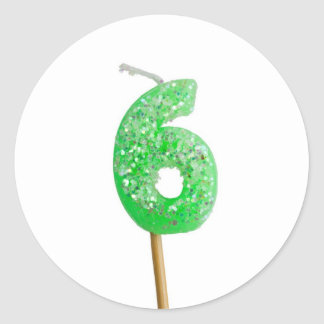 Birthday candle number 6 classic round sticker