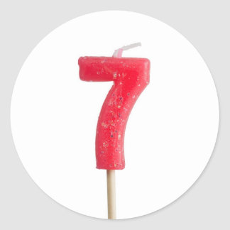 Birthday candle number 7 classic round sticker