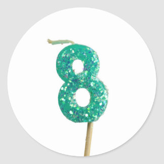 Birthday candle number 8 classic round sticker