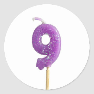 Birthday candle number 9 classic round sticker