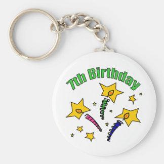 Birthday Candles 7th Birthday Gifts Basic Round Button Keychain