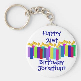 Birthday Candles Basic Round Button Keychain