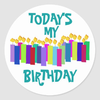 Birthday Candles Classic Round Sticker
