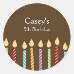 Birthday Candles Favor Stickers Round Sticker