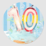 Birthday candles for ten year old classic round sticker