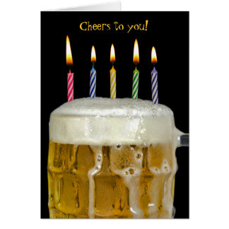 Birthday candles in beer card