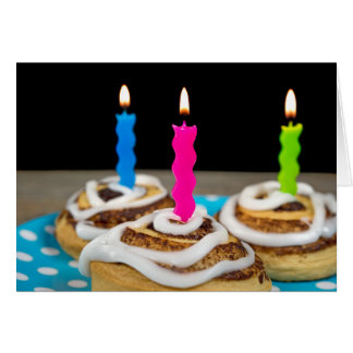 Birthday candles in cinnamon rolls card