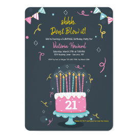 Birthday Candles Surprise Birthday Party Invitation
