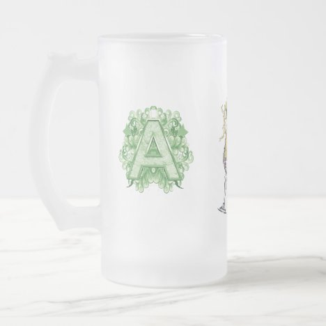 Birthday-Capital Monogram -letter A Frosted Glass Beer Mug